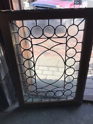 Sg 1898 Antique Leaded Glass Window Circle Border 25 X 34.5