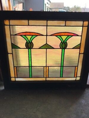 "Sg 1901 Antique Stainglass Deco Landing Window 28.25 X 25"" High"