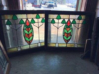Sg 1902 Match Pair Antique Stainglass Fireside Windows 28W By 25 Inch High