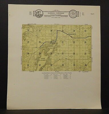 Wisconsin Kenosha County Map Randall Township  c.1930s J18#79