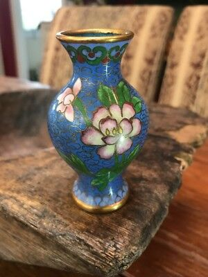 "Vintage Chinese Cloisonné Vase 3 1/8th"" Tall Beautiful Blue Pink Green Detail"