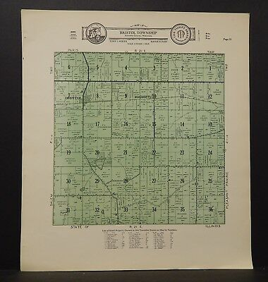 Wisconsin Kenosha County Map Bristol Township  c.1930s J18#81