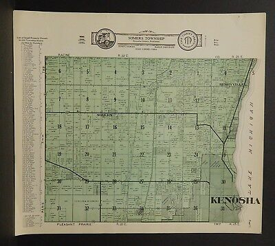 Wisconsin Kenosha County Map Somers Township  c.1930s J18#83