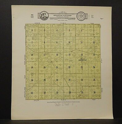 Wisconsin Kenosha County Map Brighton Township  c.1930s J18#84
