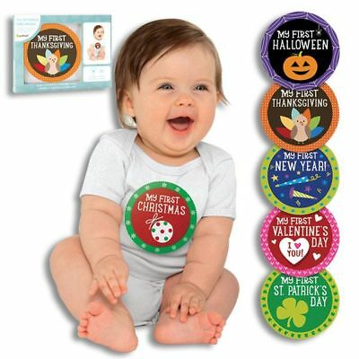 Unisex Baby FIRST HOLIDAY Belly Sticker Set Milestone Photo Prop Belly Stickers