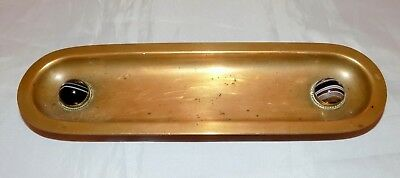 Antique Arts & Crafts Scottish School Banded Agate Cabochon Desk Brass Pen Tray