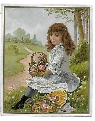 Large Victorian Trade Card  The Great Atlantic & Pacific Tea Co. Girl Flowers