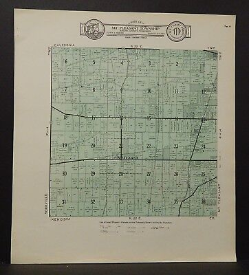 Wisconsin Racine County Map Mt. Pleasant Township  c.1930s J18#93