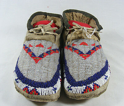 1900's Sioux Fully Beaded Moccasins Great Condition #1121