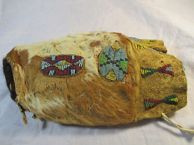 Rare 1890's Sioux Beaded Calf Head Medicine Bag #2383