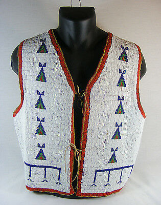 Vintage 1890's Fully Beaded Sioux Vest Amazing Condition #793