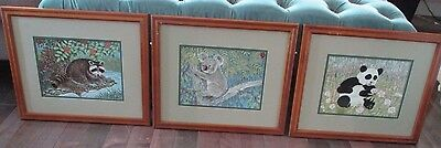 Lot of 3 Franklin Porcelain Tile Framed Pictures Clarence Wilson Beautiful! COA!
