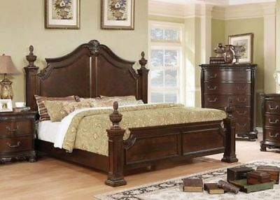 WOOD CARVINGS MOULDED Trim Antique Cherry Bedroom Furniture 1pc Queen Size  Bed