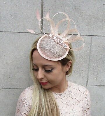 Rose Gold Blush Pink Sinamay Feather Pillbox Hat Fascinator Races Hair Clip 5242