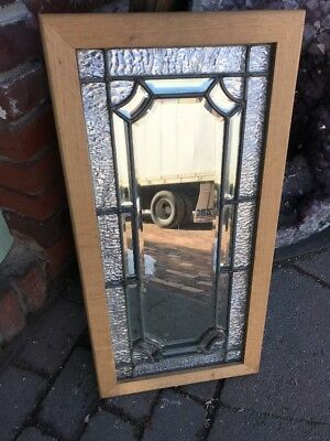 Sg 1905 Antique Leaded Beveled Window With Mirror Backing 13.5 X 27