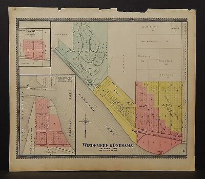 Michigan Manistee County Map Windemere & Onekama 1903 J19#07