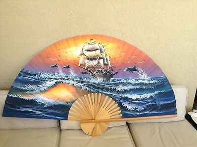 """Large Decorative Fabric Fan Wall Hanging Approximately 60"""" X 36""""           #3736"""