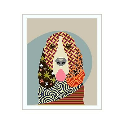 Basset Hound Dog Pet Portrait Animal Lover Art Print Puppy Decoration Painting