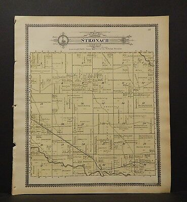 Michigan Manistee County Map Part of Stronach Township  1903 J19#11