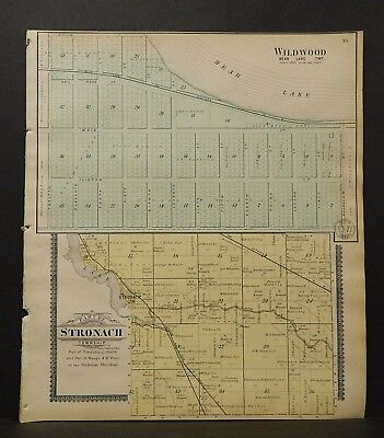 Michigan Manistee County Map Part of Stronach Township  1903 J19#12