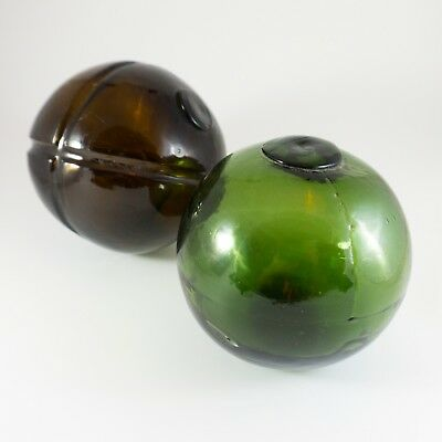Antique Vintage Fisherman's Fishing Net Glass Floats Green and Brown Set RARE!!!