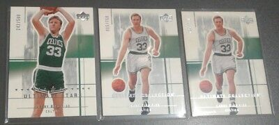 Larry Bird 03-04 Ultimate Collection Ultimate Stars 3 Card Lot Free Shipping