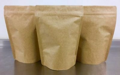 Kraft Paper Foil Lined Stand Up Pouch x100 Zip Lock 16x8x23cm Heat Sealable