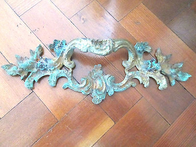 Decorative Antique Large Brass French Cabinet Draw Handle