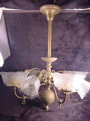 C.1890 BRASS VICTORIAN 8 ARM GAS & ELECT. COMBO CHANDELIER w/OLD SHADES~WIRED