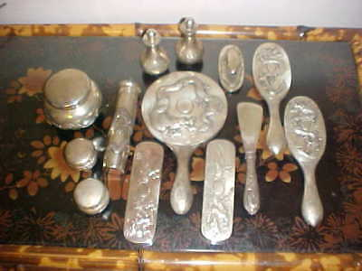 Antique Silver Dragon Men's Dressing Set (Signed-Chinese Maker's Mark)