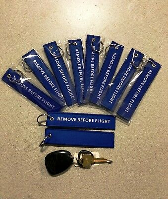 PACK OF 10 White/BLUE Remove Before Flight Keychain Aviation Tags Rings