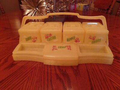 Sweet Vintage Yellow Clarolyte Baby Nursery Vanity Set Cherub Angels Excellent