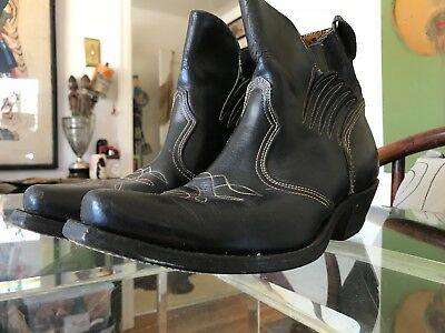 Cool Vintage 50s Rock-A-Billy Western Black Leather Unisex Ankle Cowboy Boots