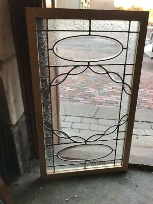 Sg 1924 Antique Beveled Leaded Textured Transom Window 20.25 X 34