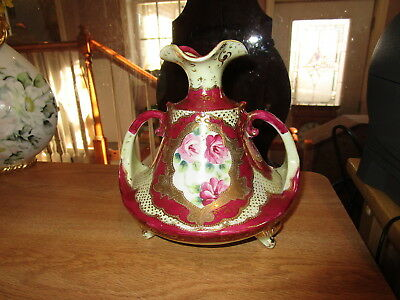 "Vintage 7"" Handled NIPPON Moriage Gold & Burgundy w/Rose Panel"