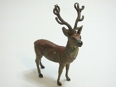 """Vintage 4 1/2"""" Tall Painted Lead Metal Stag Deer Marked Germany Larger Size N1"""