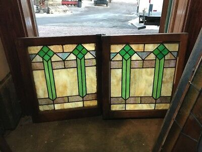 Sg 1930 Match Pair Antique Deco Stainglass Fireside Windows 19.75 X 23 Hi