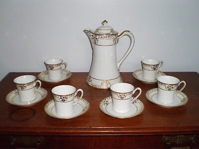 """Early Nippon Chocolate Pot 6 Cups & Saucers Gold Gilding 9 1/4"""" Tall M In Wreath"""
