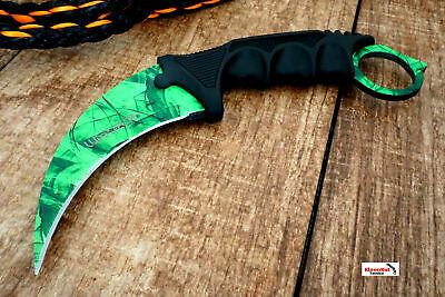CSGO Green TACTICAL NECK KNIFE KARAMBIT Hawkbill BOWIE Gamma Doppler Fixed Blade