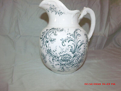 Antique Maddock's Works Lamberton Royal Porcelain Floral Pitcher