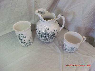 Maddock's Works Lamberton Royal Porcelain Pitcher W/ Cups Green W/Gold Trim