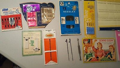 Lot of Vintage Sewing Notions, antique lot misc needles straight pins,bindings