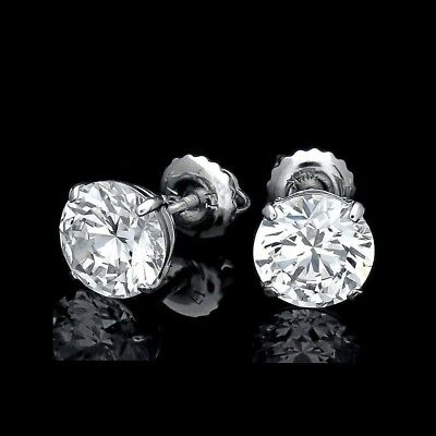 4CT Brilliant Created Diamond 14K White Gold Round Solitaire Earrings Screwback