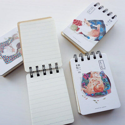 """""""Lazy Cat"""" 1pc Cute Pocket Mini Diary Small Coil Spiral Notebook Memo Journal"""