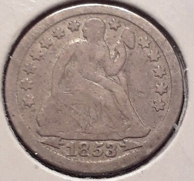 1853 Arrows 10C Seated Liberty Dime Fine