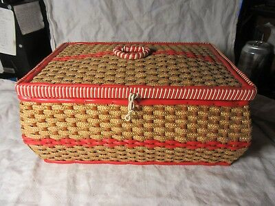 """Sewing Lot11 - Wicker Style Sewing Box Basket With Contents - 13"""" x 9"""" VG Cond"""