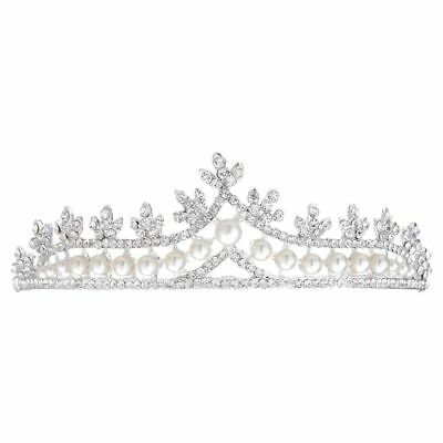 Bridal Princess Rhinestone Pearl Tiara Wedding Crown Veil Hair Accessory Silver