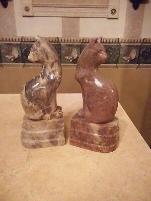 Stunning Solid Marble Cat Bookends Egyptian Style Art Deco