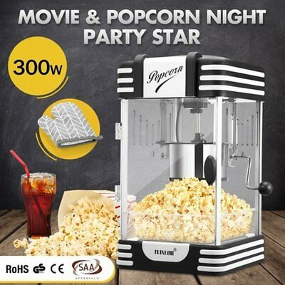 NEW 300W Classic Electric Popcorn Machine Popper Maker Black w/ Measuring Spoon