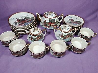 ad Beautiful Vintage Mt. Fuji Pagoda Scene 24-pc Japanese Kutani Tea Set